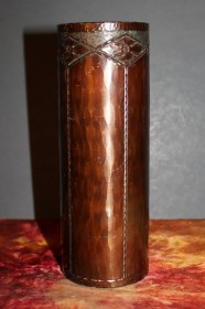 Roycroft Hammered Copper Cylinder Vase –  7 inch