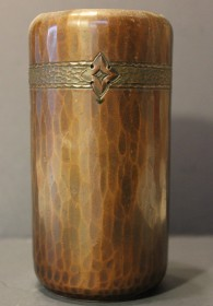Roycroft Hammered Copper Cylinder Form Vase With Tooled Flower Band