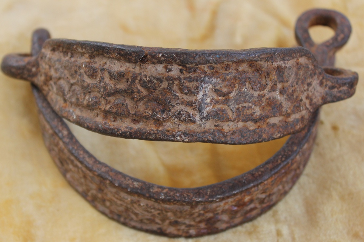 Pre Civil War Wrought Iron Slave Collar With Tooled Decoration