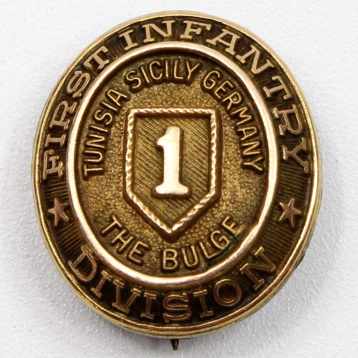 WWII US Army 1st Infantry Division 10k Gold Pin Tunisia Sicily Germany Battle Of The Bulge
